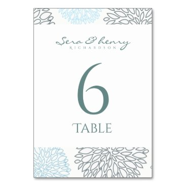 Beach Themed SHADES OF BLUE DAHLIA FLORAL PATTERN TABLE CARD