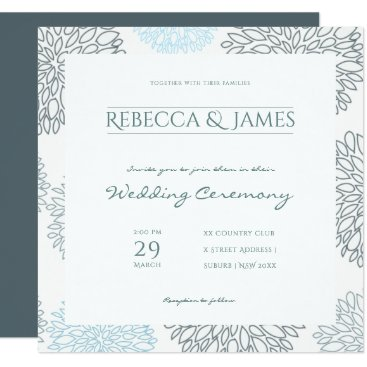 Beach Themed SHADES OF BLUE DAHLIA FLORAL PATTERN Wedding Card