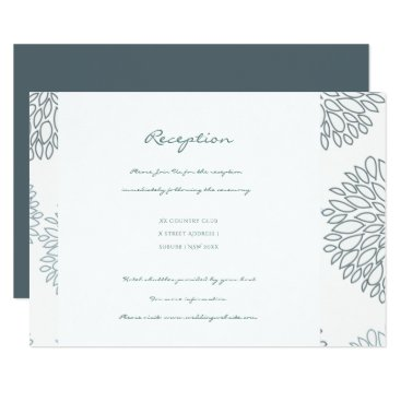 Beach Themed SHADES OF BLUE DAHLIA FLORAL RECEPTION INVITE