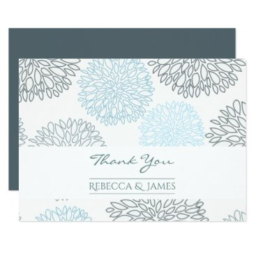 Beach Themed SHADES OF BLUE DAHLIA FLORAL THANK YOU CARD