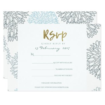 Beach Themed SHADES OF BLUE DAHLIA PATTERN GOLD SCRIPT RSVP CARD