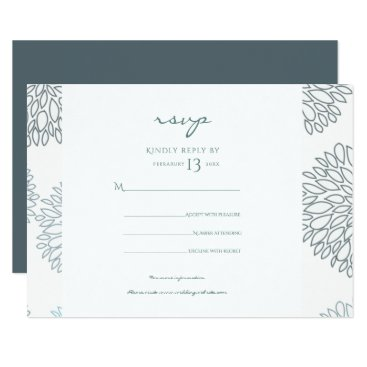 Beach Themed SHADES OF BLUE DAHLIA PATTERN RSVP CARD