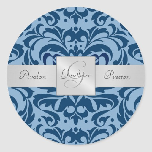 Shades of Blue Damask Monogram Wedding Sticker