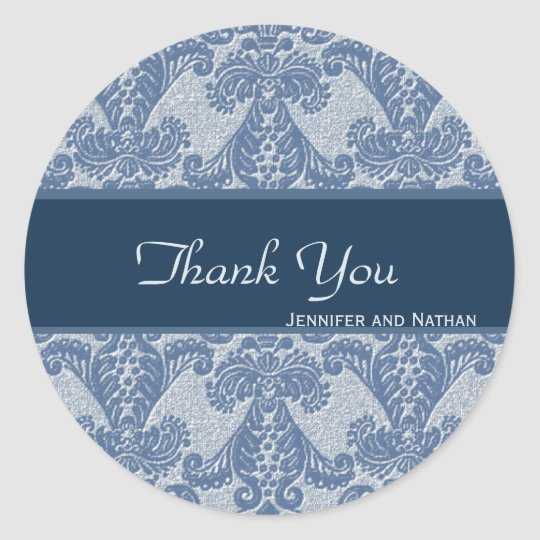Shades of Blue Damask Thank You Classic Round Sticker