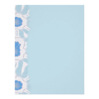 Shades of Blue Floral Retro Abstract Pattern Letterhead