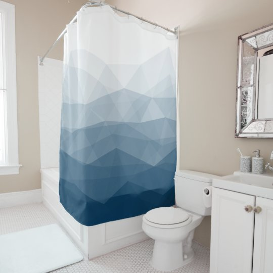 Shades Of Blue Geometric Design Shower Curtain