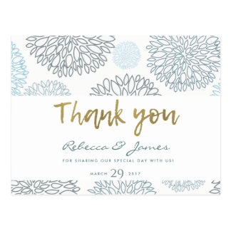 SHADES OF BLUE GOLD DAHLIA PATTERN THANK YOU POSTCARD