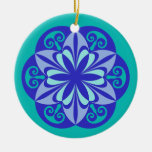 Shades of Blue Green stained glass Ornament