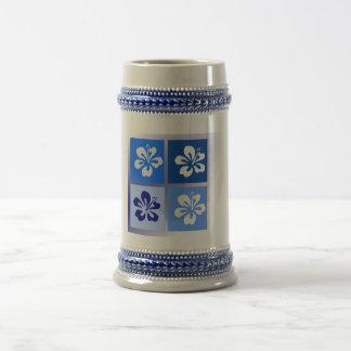 shades of blue hibiscus design beer stein