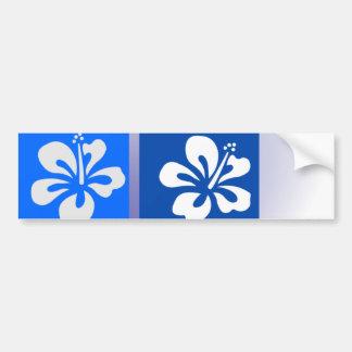 shades of blue hibiscus design bumper stickers