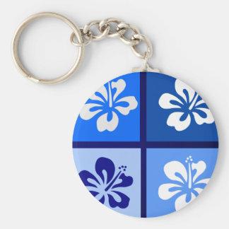 shades of blue hibiscus design keychain
