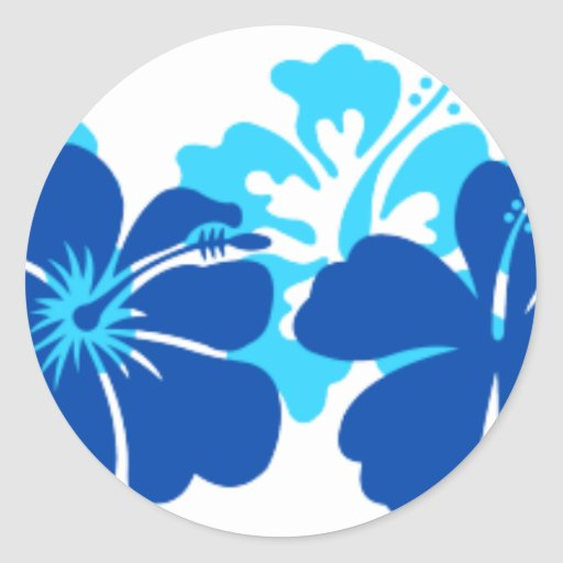 Shades of blue hibiscus round stickers