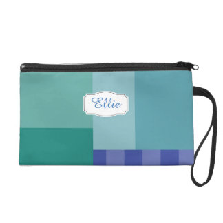 Shades of Blue in squares&rectangles Wristlet Purse