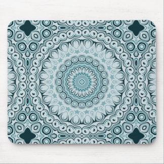 Shades of Blue Kaleidoscope Flowers Design Mouse Pad