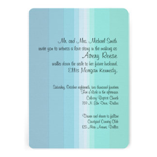 Shades of Blue Ombre Wedding Invitation
