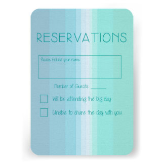 Shades of Blue Ombre Wedding Reply Card