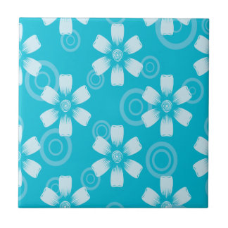 Shades Of Blue Painted Flowers & Dots Ceramic Tile