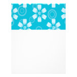 Shades Of Blue Painted Flowers & Dots Customized Letterhead