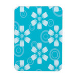 Shades Of Blue Painted Flowers & Dots Rectangle Magnets