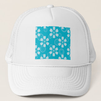 Shades Of Blue Painted Flowers & Dots Trucker Hat