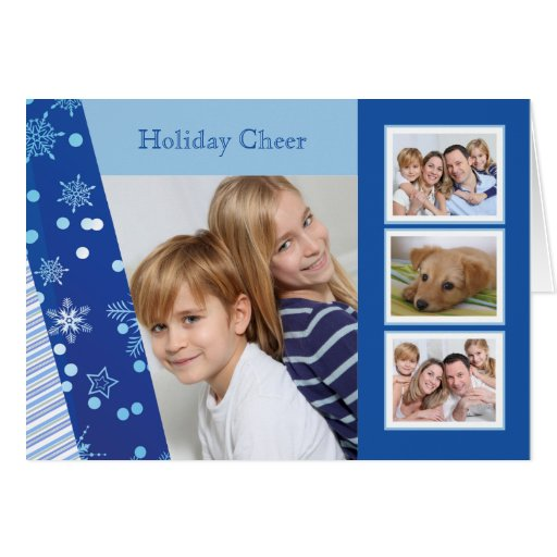 Shades of Blue - Photo Holiday Folded Card