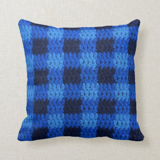 Shades of Blue Plaid Texture Crochet Pillow