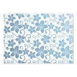 Shades of Blue Plumeria Blooms 5x7 Paper Invitation Card
