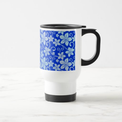 Shades of Blue Plumeria Blooms 15 Oz Stainless Steel Travel Mug