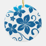 Shades of Blue Plumeria Blooms Double-Sided Ceramic Round Christmas Ornament