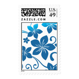 Shades of Blue Plumeria Blooms Stamps