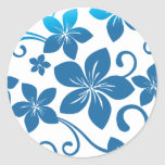 Shades of Blue Plumeria Blooms Classic Round Sticker