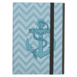 Shades Of Blue Retro Chevron Pattern & Blue Anchor iPad Air Cover