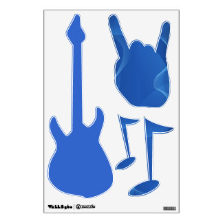 Shades of Blue Rock & Roll Room Decals