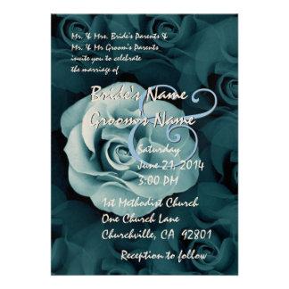 SHADES OF BLUE Rose Wedding Invitation