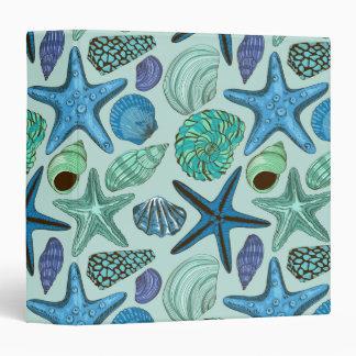 Shades Of Blue Seashells And Starfish Pattern Binder