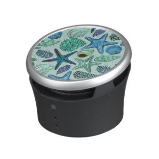 Shades Of Blue Seashells And Starfish Pattern Bluetooth Speaker