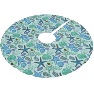Shades Of Blue Seashells And Starfish Pattern Brushed Polyester Tree Skirt