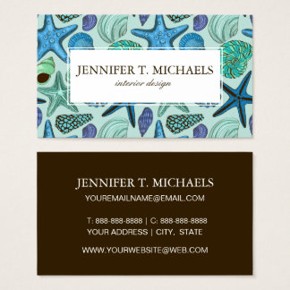 Shades Of Blue Seashells And Starfish Pattern Business Card
