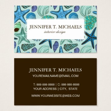 Bride Themed Shades Of Blue Seashells And Starfish Pattern Business Card