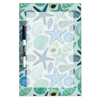 Shades Of Blue Seashells And Starfish Pattern Dry-Erase Board