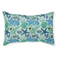 Shades Of Blue Seashells And Starfish Pattern Pet Bed