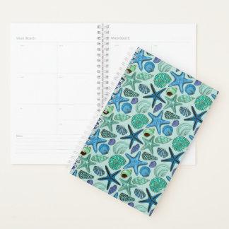 Shades Of Blue Seashells And Starfish Pattern Planner