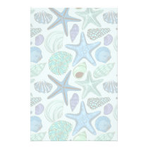 Shades Of Blue Seashells And Starfish Pattern Stationery