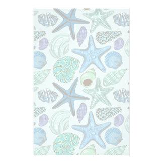 Shades Of Blue Seashells And Starfish Pattern Stationery