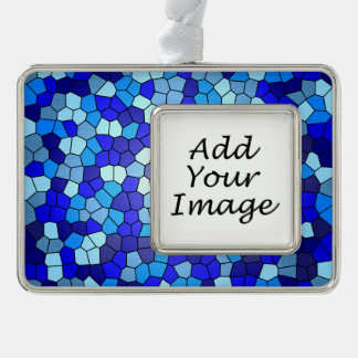 Shades of Blue Stained Glass by Shirley Taylor Silver Plated Framed Ornament