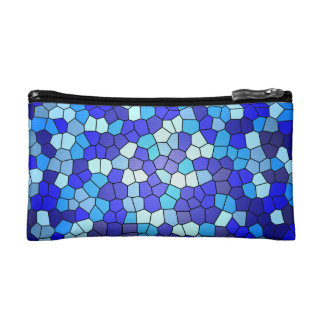 Shades Of Blue Stained Glass Cosmetic Bag