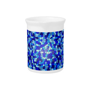 Shades Of Blue Stained Glass Drink Pitchers