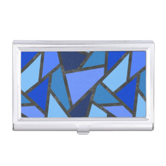 Shades of blue stained glass pattern business card case