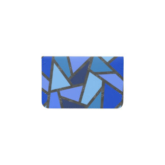 Shades of blue stained glass pattern business card holder