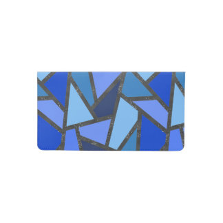 Shades of blue stained glass pattern checkbook cover